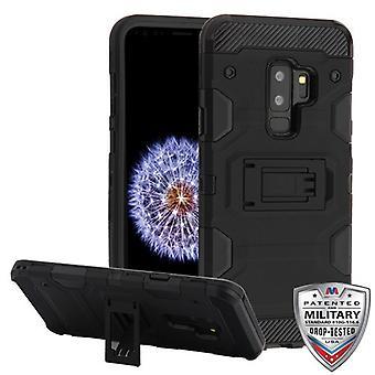 COUVERTURE MYBAT Black/Black Storm Tank Hybrid Protector Cover pour Galaxy S9 Plus