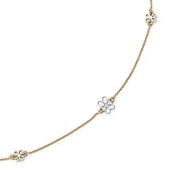 14k Two Tone Gold Polished Flower With 1inch Ext. Anklet 10 Inch Jewelry Gifts for Women