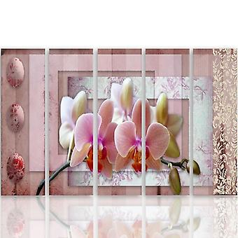 Five Part Picture On Canvas, Pentaptych, Type C, Pink Orchid