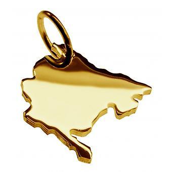 Hänge karta kedja hänge i guldgult-guld i form av MONTENEGRO
