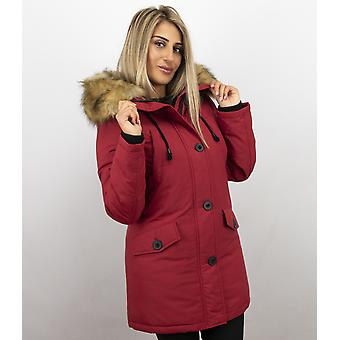 Winter Coats With Fur Collar Sale - Red Parka