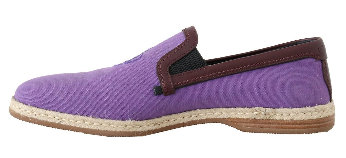 Purple Cotton Leather Crown Loafers