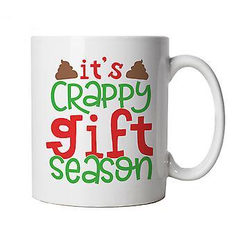 Crappy Gift Season Mug | Christmas Xmas HoHoHo Season Greetings Merry | Lights Decorations Santa Claus Reindeer Rudolf | Christmas Funny Cup Gift