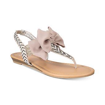 Material Girl Womens Swan Fabric Open Toe Bridal Slingback Sandals
