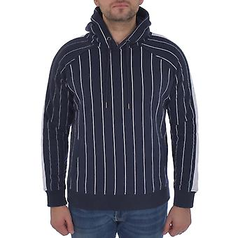 Brave Soul Mens Striped Long Sleeve Drawstring Hood Pullover Hoodie Top - Navy
