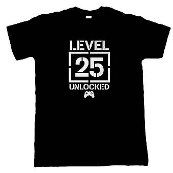 Nivå 25 Olåst Video Game Födelsedag, Mens T-Shirt - Gaming Gift Honom Pappa