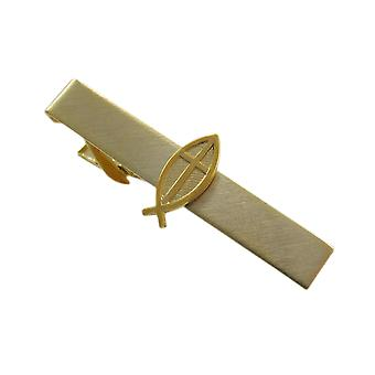 Gold Plate Christian Cross And Ichthys Fish Tie Clip Bar