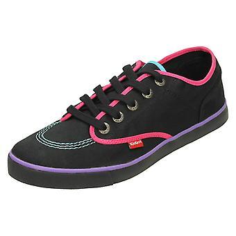 Senhoras Kickers Sneakie laço sapatos de lona