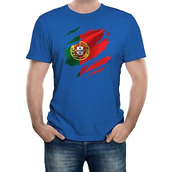 Reality glitch torn portugal flag mens t-shirt