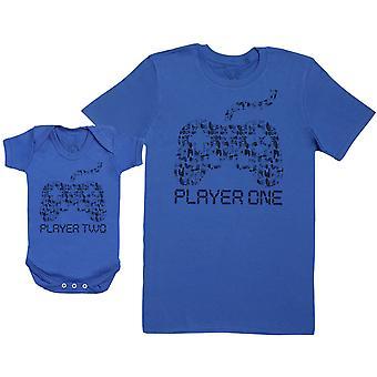 Pelaaja Yksi & Pelaaja Kaksi - Baby Gift Set vauvan body & isä & apos;s T-paita