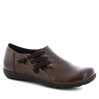 Leonardo Shoes Chaussures Femme-apos;chaussures à lacets faites à la main en cuir de veau brun foncé