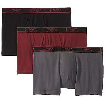Emporio Armani Logo Stretch Cotton 3-Pack Boxer Brief, Czarny / Antracyt / Amaranth, X-Large