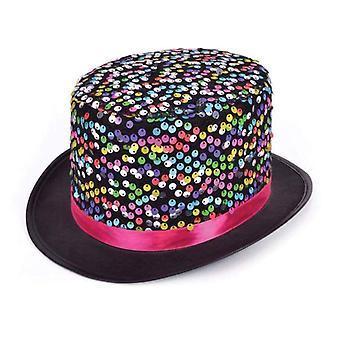 Top Hat Black w/multi Sequins