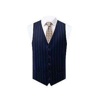 Dobell Mens Navy Waistcoat Regular Fit Blue Pinstripe