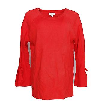 Belle by Kim Gravel Women's Sweater Feather Knit Bell Sleeve Red A301910