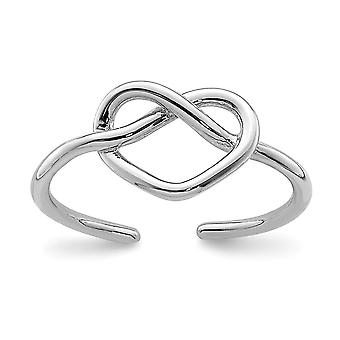 925 Sterling Silver Rhodium plated Polished Love Heart Knot Toe Ring Jewelry Gifts for Women