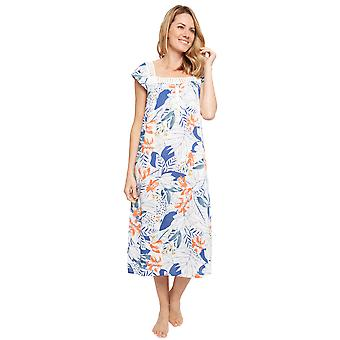 Cyberjammies 1357 Women's Nora Rose Ellen Blue Leaf Print Cotton Long Nightdress