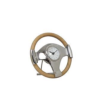 Light & Living Clock 25x6.5cm Steering Standing Nickel-Leather