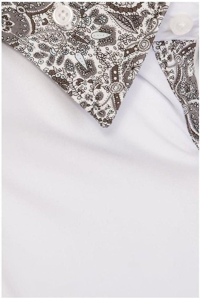 JSS Plain White Regular Fit 100% Cotton Shirt With Paisley Double Collar