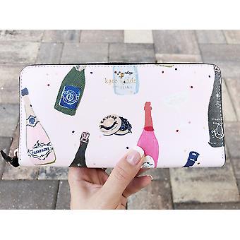 Kate Spaten Champagner Druck rosa multi lacey Reißverschluss rund um kontinentale Brieftasche