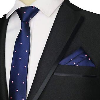 Navy blue & pink polka dot skinny tie & pocket square
