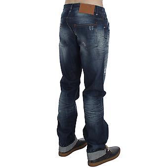 Acht Blue Wash Cotton Denim Regular Fit Creased Jeans