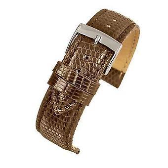 Подлинный итальянский ремешок для часов с ящерицами темно-коричневый размер от 14 мм до 20 мм