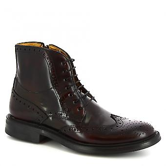 Leonardo Shoes Men's handmade lace-ups ankle boots burgundy brushed calf leather