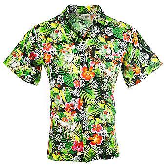Funny Guy Mugs Mens Sloth Hawaiian Print Button Down Short, Sloth, Size Large
