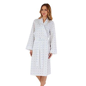 Slenderella HC55235 Dames's Spotty Cotton Robe Dressing Gown