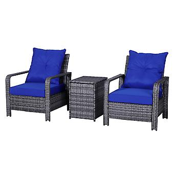 Outsunny 3 Pcs PE Rattan Seating Set w/ 2 Chairs Storage Table Cushions Metal Frame Garden Outdoor Relaxation Striking Blue