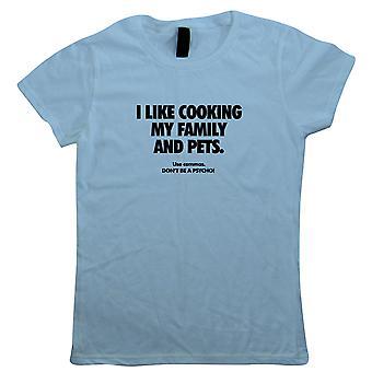 J'aime cuisiner ma famille Drôle de grammaire, T-shirt femmes - Drôle de cadeau sa mère