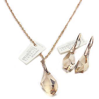 اه! مجوهرات بلورات الظل الذهبي من مجموعة سواروفسكي المضلع، مختومة 925