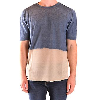 Messagerie Ezbc431003 Men's Beige/blue Linen T-shirt