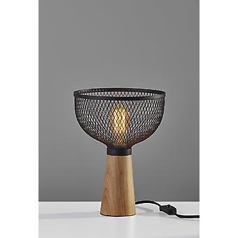 Upturned Black Metal Cage Table Lamp
