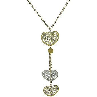 Park Lane Ladies Two Tone Triple Heart Pendant on 18 Goldtone Chain