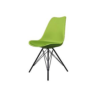 Fusion Living Eiffel Inspired Green Plastic Dining Chair With Black Metal Legs