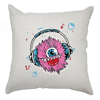 Monster Cushion Cover 40cm x 40cm - Monster With Headphones