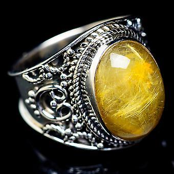 Rutilated Quartz Ring Size 6.75 (925 Sterling Silver)  - Handmade Boho Vintage Jewelry RING5603