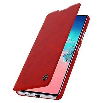 Capa de protecçao Galaxy S10 Lite Porta-cartoes couro autentico Vermelho