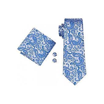 JSS Mens Blue Paisley 100% Silk Pocket Square, Cufflink och Tie Set