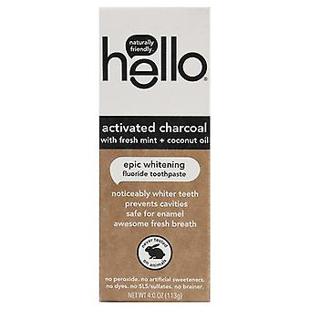 Hello Activated Charcoal Fresh Mint + Coconut Oil Fluoride Toothpaste
