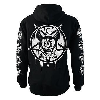 Darkside - mickey 666 - mens hooded zip-up sweater - black