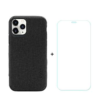 Voor iPhone 11 Pro Case Denim Texture Zwart en Gehard glas screenprotector