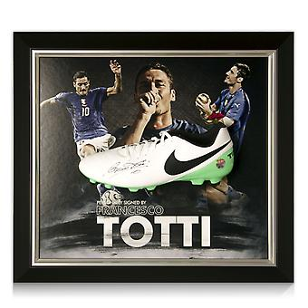 Francesco Totti Signed Football Boot Italy Presentation Framed