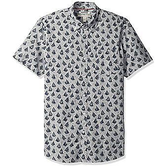 Goodthreads الرجال & apos;ق معيار صالح قصيرة الأكمام المطبوعة قميص بوبلين, قوارب, صغيرة
