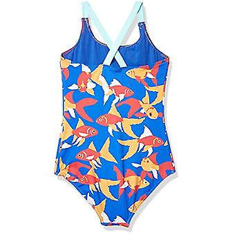 Brand - Spotted Zebra Girl's One-Piece Swimsuit, Goldfish, Small (6-7)