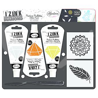 Aladine Izink Diamond Glitter Paint Kit Feather