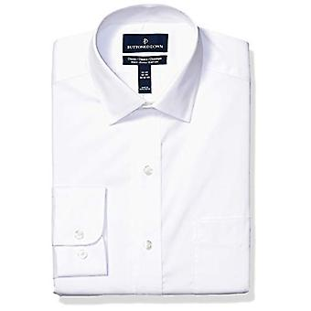"""BUTTONED DOWN Men's Classic Fit Tech Stretch CoolMax Easy Care Dress Shirt, Wit, 17"""" Neck 36""""-37"""" Sleeve"""