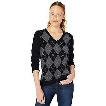 Essentials Mujeres's Suéter de cuello en V ligero estándar, Argyle negro, ...